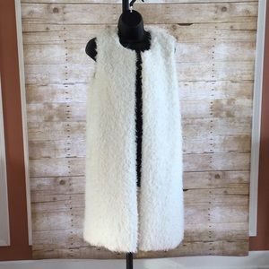 Faux Fur Longline Vest with Pockets - Size M